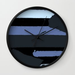 Modern Stripes Black Blue Gray Wall Clock