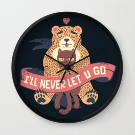 Ill Never Let You Go Bear Love Cat Wall Clock