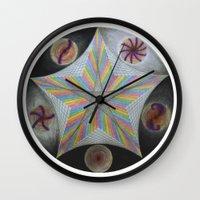 pentagram Wall Clocks featuring Galactic Pentagram (ANALOG zine) by johngerGEOs