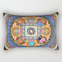 Om Mandala Tibetan Thangka Floral Rectangular Pillow