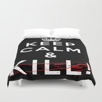 keep calm Duvet Covers featuring Keep Calm &... by Emanuelerock