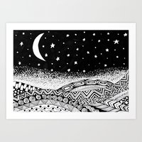 Doodle style landscape night with moon and stars in the sky Art Print