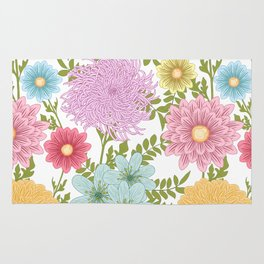 Painted Floral Pattern With Dahlias And Chrysanthemums Rug