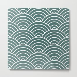 Teal Japanese Seigaiha Wave Metal Print