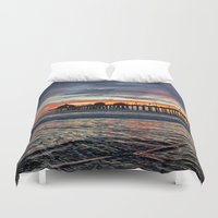 calendars Duvet Covers featuring Huntington Beach Sunset  1/26/14 by John Minar Fine Art Photography