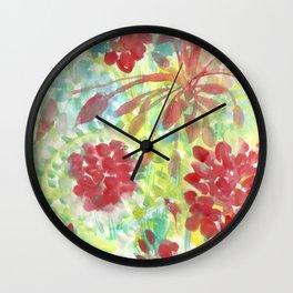 Ixora and Ferns - Watercolor Wall Clock