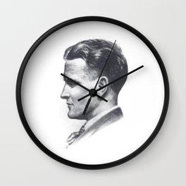 A portrait of F Scott Fitzgerald Wall Clock