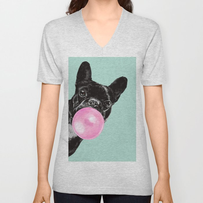 Bubble Gum Sneaky French Bulldog in Green Unisex V-Neck