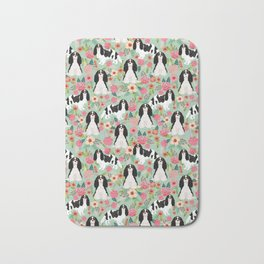 Cavalier King Charles Spaniel floral flowers dog breed pattern dogs mint Bath Mat
