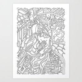 Wandering 44: black & white line art Art Print