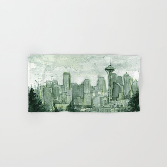Seattle Skyline Watercolor Space Needle Emerald City 12th Man Art Hand & Bath Towel