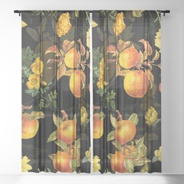 Vintage & Shabby Chic - Midnight Golden Apples Garden Sheer Curtain