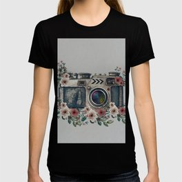 Camera with Summer Flowers T-shirt