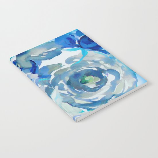 Sky Blue Painterly Floral Abstract Notebook