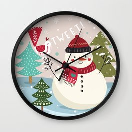 The Sweet Song Of Winter Friends Wall Clock