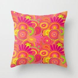 Psychedellic Paisley Orange Throw Pillow
