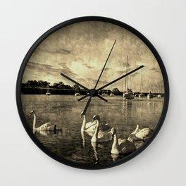 Serene Swans Vintage Wall Clock