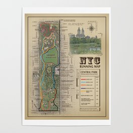 """NYC's Central Park [Vintage Inspired] """"San Remo"""" Running route map Poster"""