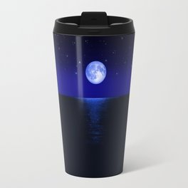 Morning Blue Moon Reflected in Dark Sea Travel Mug