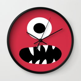 Kids Silly Red One Eyed Monster Wall Clock