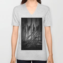 Fallen Trees After Storm Victoria February 2020 Möhne Forest 2 bw Unisex V-Neck