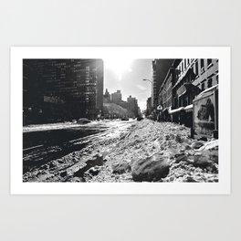 Snowing on 2nd Art Print