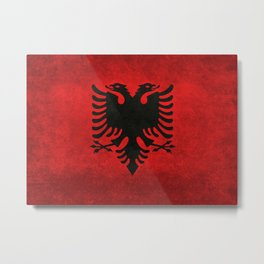 Albanian Flag in Vintage Retro Style Metal Print