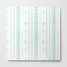 Blush blue white geometric bohemian arrows pattern Metal Print