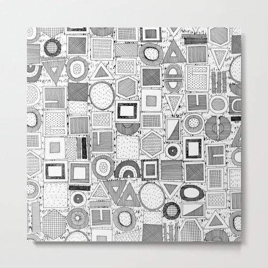 frisson memphis black white Metal Print
