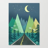road Canvas Prints featuring The Long Road at Night by Jenny Tiffany