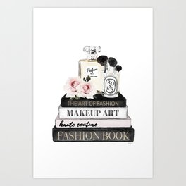 Fashion wall art, Books, Perfume, Roses, Makeup brushes, Blush, pink, Black and white, watercolor Art Print