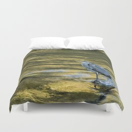 Great Blue Heron on a Golden River Duvet Cover