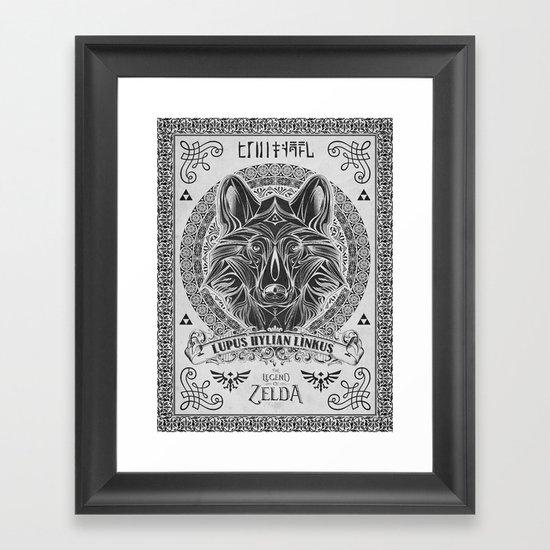 Legend of Zelda Twilight Wolf Link Line Art Framed Art Print