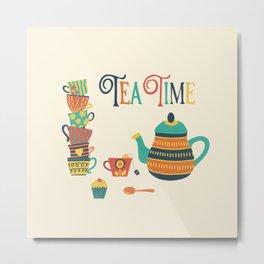 Tea Time Party Metal Print