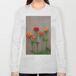 Orange Ranunculus flowers Long Sleeve T-shirt
