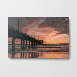 Manhattan Beach Pier III Metal Print