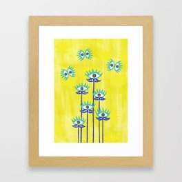 Evil Eye Nazar protective Garden Yellow Framed Art Print
