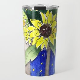 Sunflowers in Rain Boots Travel Mug