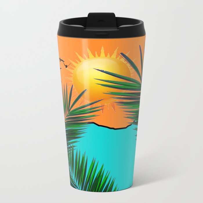 Palm in the sun Metal Travel Mug