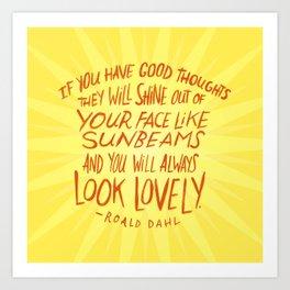 Roald Dahl on Positive Thinking Art Print
