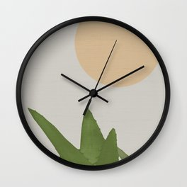 Aloe and moon Wall Clock