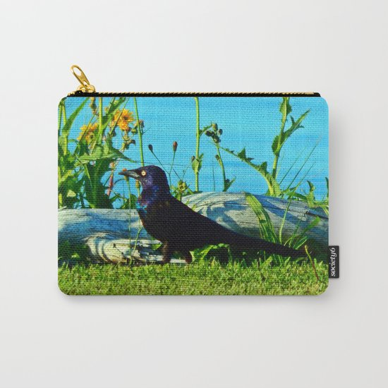 Bright Eyed Black Bird Carry-All Pouch