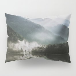 Dreamlike Morning at the Lake - Nature Forest Mountain Photography Pillow Sham