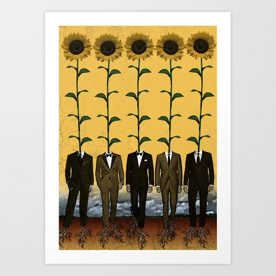 Sunflowers In Suits Print Art Print