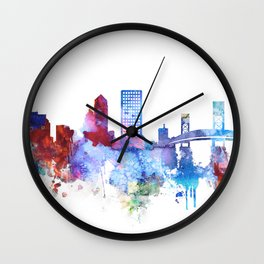 Jacksonville watercolor skyline Wall Clock
