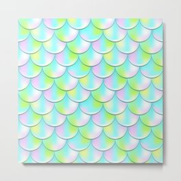 Pink and Green Mermaid Pattern, Holographic Fish Scale Print Metal Print