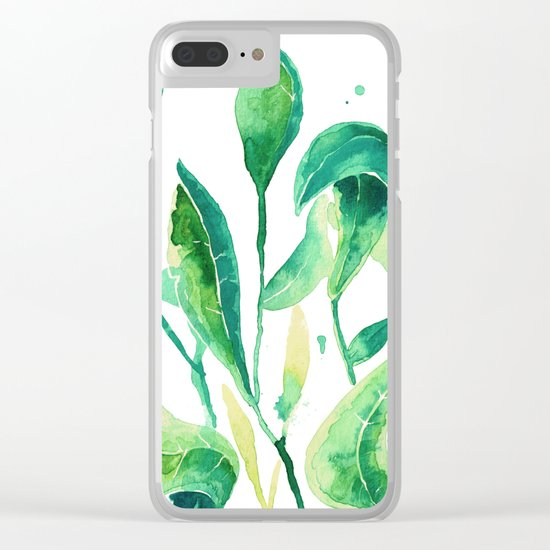 new water color leaves Clear iPhone Case