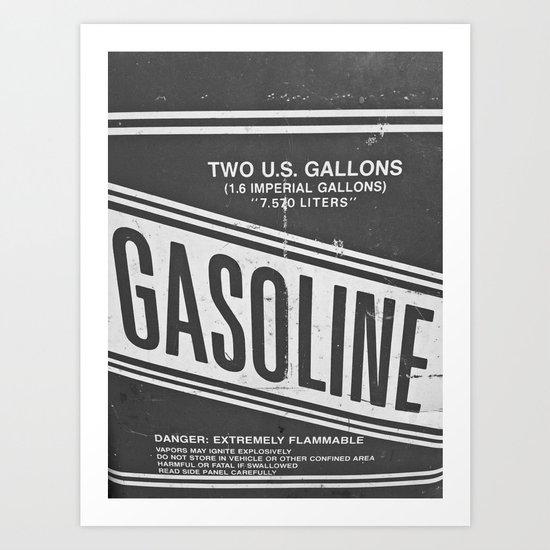 Vintage Gasoline B & W Art Print