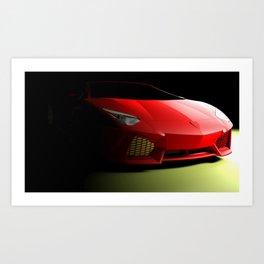 Red sport supercar isolated on black background - 3D rendering illustration Art Print