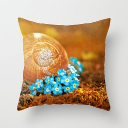 Golden snail house in a bed of forget-me-not Throw Pillow